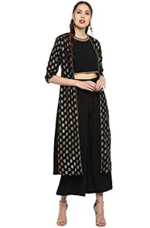 Janasya Women's Black Poly Crepe Crop Top With Palazzo And Dupatta