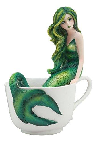 Ebros Amy Brown Tea Cup Atlantis Princess Green Emerald Mermaid Statue Mermaid Blend Fantasy Mermaid Sirens Of The Seas Collector Figurine (Princess Statue)