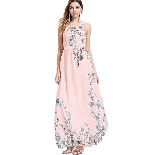OMONSIM Sexy Women Summer Boho Long Maxi Evening Party Cocktail Dress Beach Dress (XX-Large, Pink)