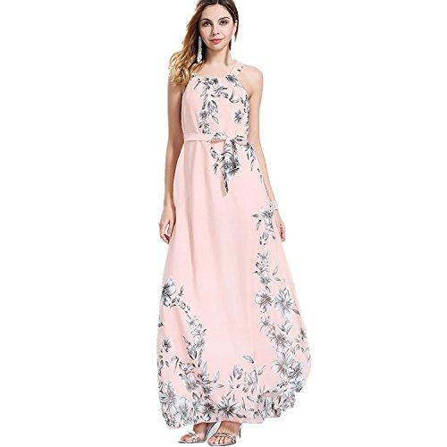 OMONSIM Sexy Women Summer Boho Long Maxi Evening Party Cocktail Dress Beach Dress (XX-Large, Pink)