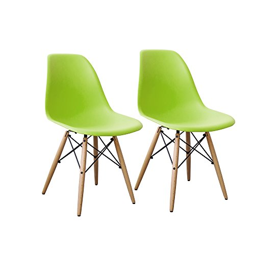 Cheap Buschman Set of Two Green Eames-Style Mid Century Modern Dining Room Wooden Legs Chairs