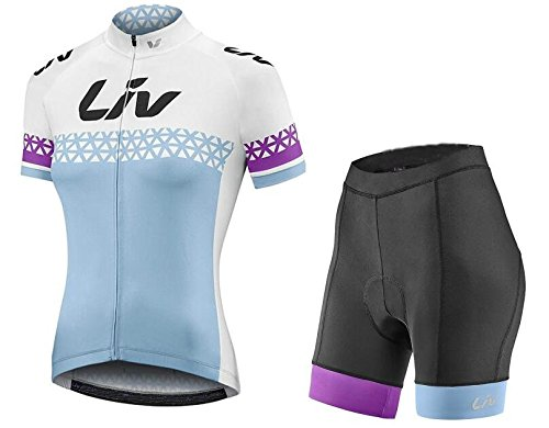 Women's Short Sleeve Cycling Jerseys and Bib Shorts Set Bicycle Jersey Summer Quick Drying Breathable Jersey V253 (E, -
