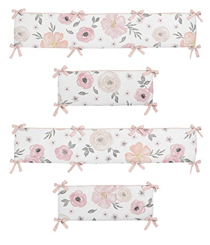 Sweet Jojo Designs Blush Pink, Grey and White Baby Crib Bumper Pad for Watercolor Floral Collection Rose ()