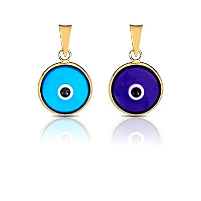 Blue Round Evil Eye Luck Charm Pendant 14K Yellow Gold by BAYAM