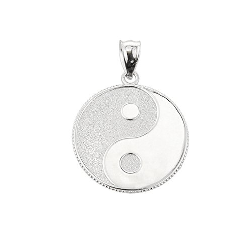 10 ct 471/1000 Or Blanc YEn et Yang taoistische Symbol- Pendentif