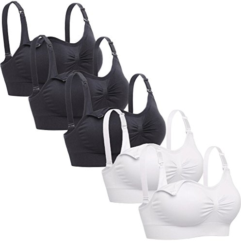 Lataly Womens Sleeping Nursing Bra Wirefree Breastfeeding Maternity Bralette Pack of 5 Color Black White Size (Best Lataly Bra Supports)