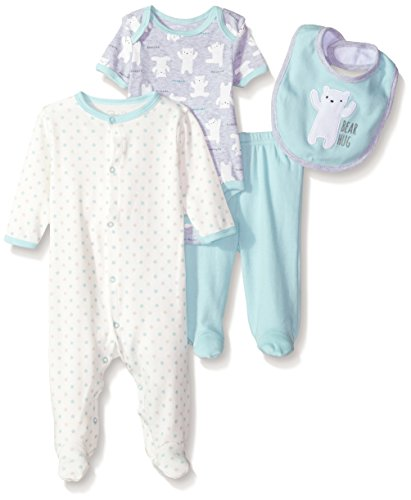 Rene Rofe Baby Kids' Little Newborn 4 Pc Coverall Bodysuit,Pant & Bib Set, Bear Hug, 0-3 Months