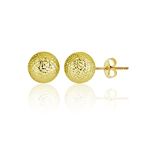 14K Yellow Gold Diamond Cut 8.00mm Ball Stud Earring by Decadence