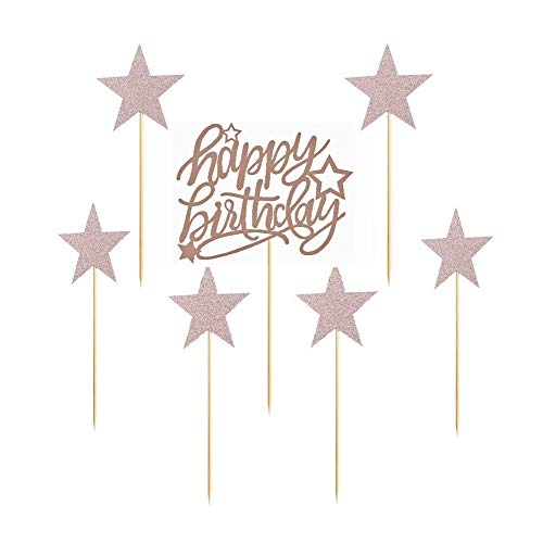 7 Pack Glittery Rose Gold Happy Birthday Cake Topper, 2020 Party Decorations Cake Decor,1st First 11th 13th 16th 18th 21st 30th 40th 50th 60th 70th 80th 90th 100th Birthday
