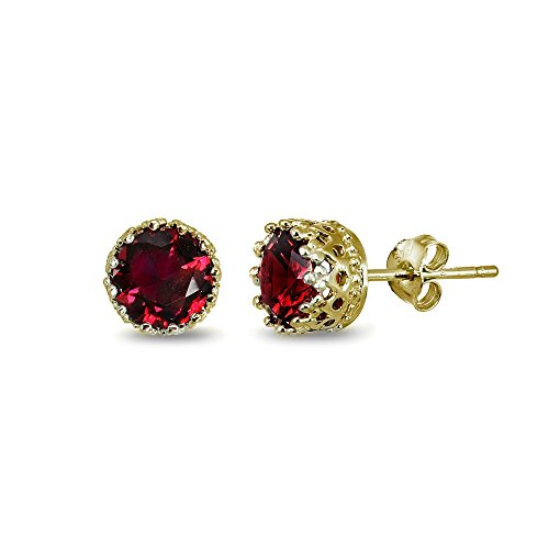 Ruby Red Flashed - LOVVE Yellow Gold Flashed Sterling Silver 6mm Created Ruby Crown Stud Earrings