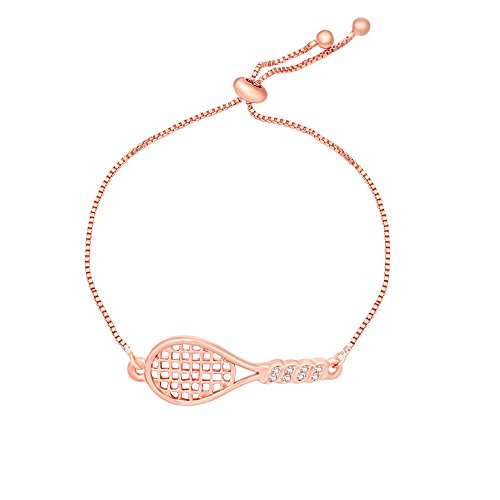 Perfect Tennis Adjustable Bracelet Bangle Best Tennis Jewelry Gifts for Tennis Players (Rose Gold)