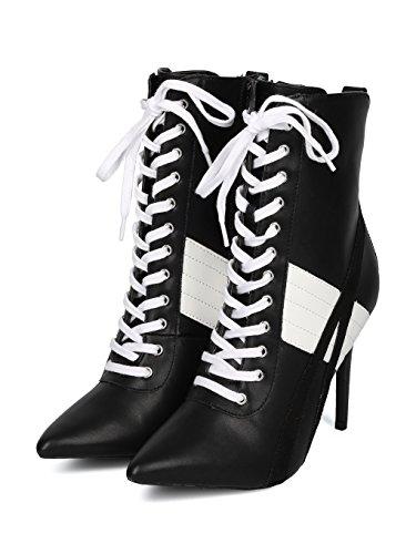 Alrisco Women HF17 Stripe Black Toe Bootie Sports Lace Stiletto Leatherette up Pointy rrFwqCzd