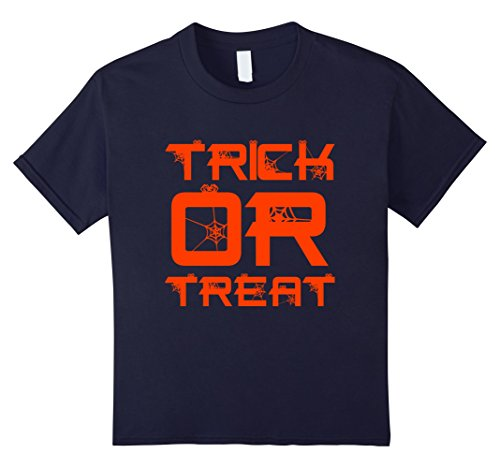 Kids Trick or Treat Halloween Scary Spiders Web Costume T Shirt 12 Navy (Cool Teenage Girl Halloween Costume Ideas)