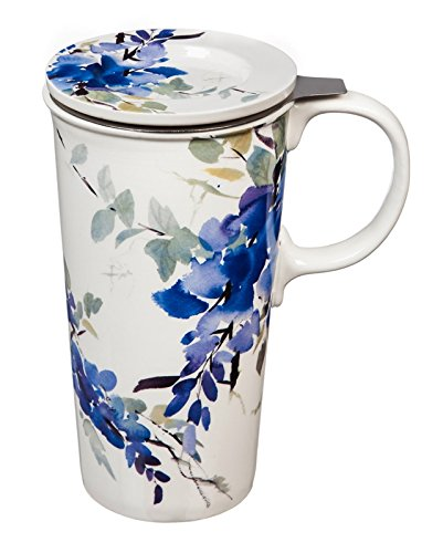 - Blue Watercolor Floral 12 OZ Ceramic Cup and Infuser Set - 4 x 5 x 7 Inches
