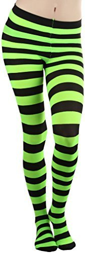 ToBeInStyle Women's Full Footed Wide Striped Tights (Plus Size, BLACK AND (Orange And Black Striped Leggings)