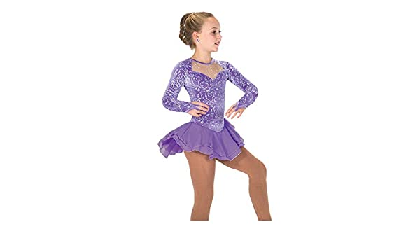 Kmgjc Ice Skating Dress for Girls Women Purple Figure Skating Competition Performance Costume Sleeveless Velvet Chiffon