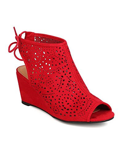 Qupid FC25 Women Faux Suede Peep Toe Perforated Single Sole Wedge Back Tie Bootie - Red
