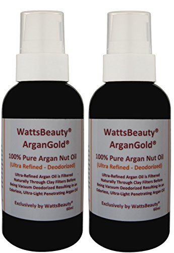 Premium Watts Beauty Ultra ArganGold 100% Pure Argan Oil – Multi-use for Face, Hair, Nails & Body – A Lighter Argan Oil for Frizz Free Hair, Dry, Dull or Aging Skin, All Day Face Moisturizer, Dry Cuticles, Rough Heels, Makeup Remover & More – 2 Pack