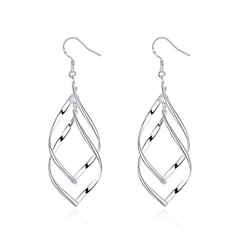Sterling Silver Double Wave (925 Sterling Silver, Double Twist Wave Long Tassels Drop Dangle Earrings for Women girls)