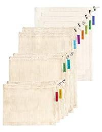 Colony Co. Juego de 10 bolsas reutilizables (6 bolsas de malla y 4 bolsas de basura a granel), los materiales de algodón son biodegradables, lavables a máquina, embalaje reciclable, peso de tara sobre etiqueta, costuras dobles