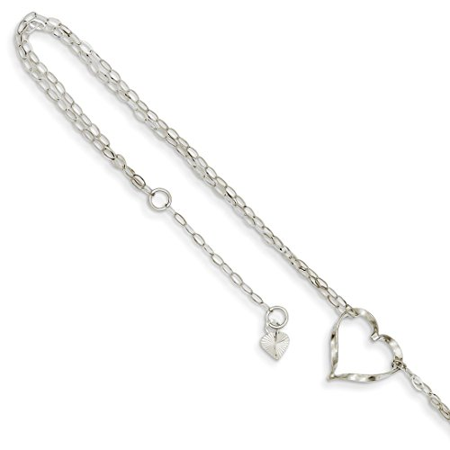 ICE CARATS 14k White Gold Double Strand Heart Anklet Ankle Beach Chain Bracelet Fine Jewelry Ideal Mothers Day Gifts For Mom Women Gift Set From Heart