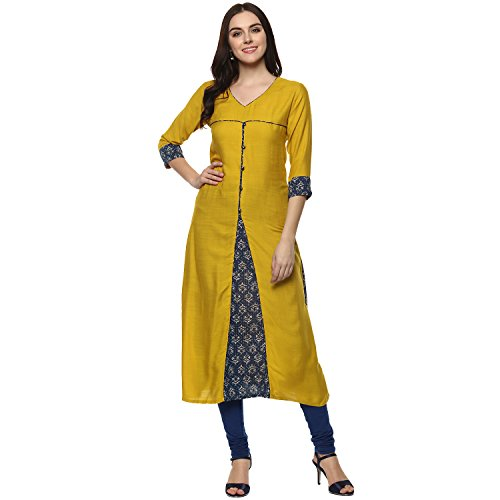 Aahwan Indian Kurtis for Women Mustard Solid and Printed Rayon A-line Half Sleeves Calf Long Dress X-Large Yellow by Aahwan