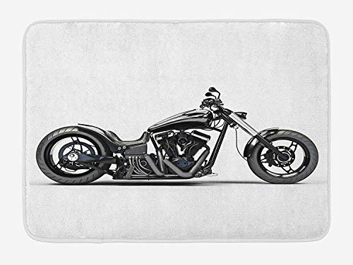 (Better2019 Manly Bath Mat, Custom Motorcycle Horsepower Adventurous Journey Freedom Ride Masculine Vehicle, Plush Bathroom Decor Mat with Non Slip Backing, 16 X 24 Inches, Grey Black)