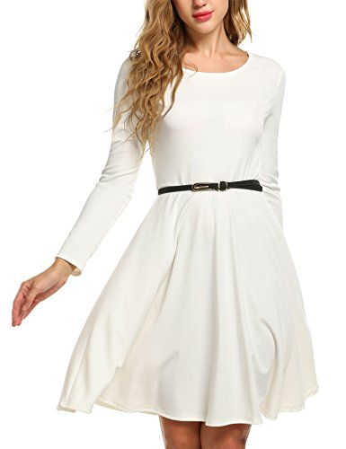ACEVOG-Women-O-Neck-Audrey-Hepburn-Fit-and-Flare-Solid-Party-Cocktail-Dress-with-Belt