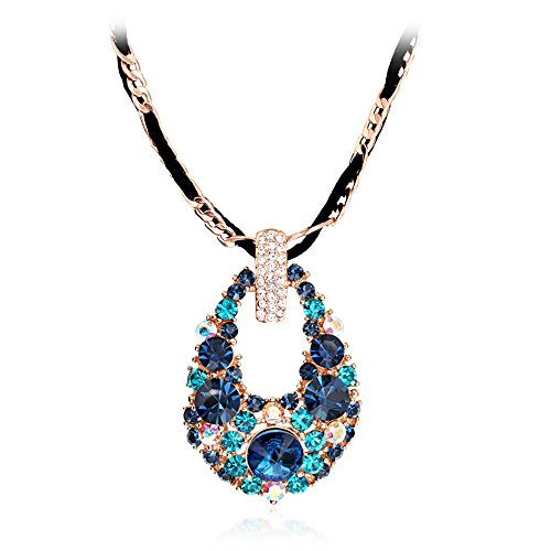 The Starry Night Water Drop Shape Deluxe Color Crystal Blue Diamond Accented 18K Gold Choker Style Female Pendant Necklace (Tangle Twine)