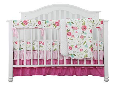 Sahaler 4PCS Crib Rail Guard Set Boho Floral Nursery Baby Bedding Ruffled Crib Skirt Crib Rail Cover Set (Pink Roses)