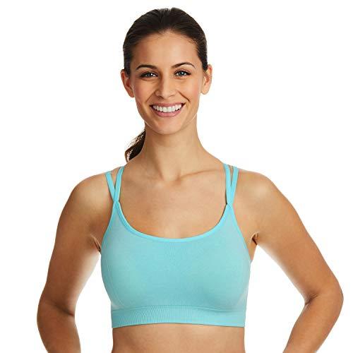 Heather Stone - Reebok Women's Strappy Sports Bra - Racerback Medium Impact Bralette w/Removable Cups - Tibetan Stone Heather, X-Large