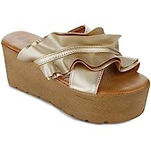 RF ROOM OF FASHION Women's Open Toe Lug Sole Slip on Platform Slides Sandals