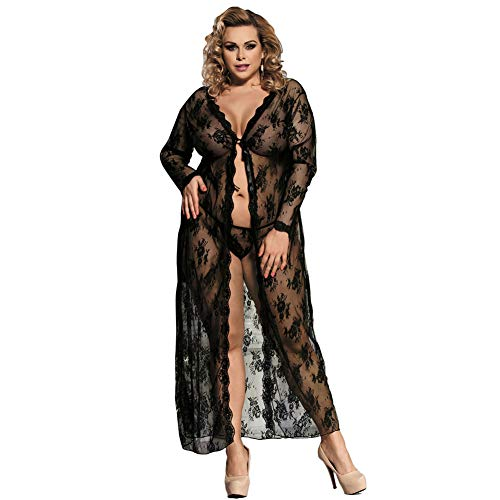 Women Puls Size Sexy Lingerie Front Opening Babydoll Lace Chemise Sleepwear Sheer Mesh Robe,Black,XL