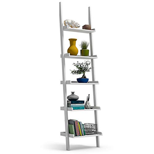 Tangkula Ladder Shelf, 5-Tier Multifunctional Modern Wood Plant Flower Book Display Shelf, Home Office Storage Rack Leaning Ladder Wall Shelf (White, 1)