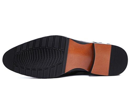 Insun Mens Lederen Zijrits Oxfords Chukka Boots Zwart