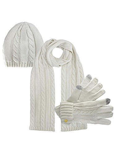 Ivory 3 Piece Beanie Hat Texting Gloves & Matching Scarf ()