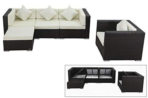 OUTFLEXX Lounge Sofaset Sessel und Sitz-Hocker aus hochwertigem Polyrattan in braun für 5 Personen, inkl. Polster-Kissen und Kissenboxfunktion mit Innentasche, Zeitloses Design, wetterfest