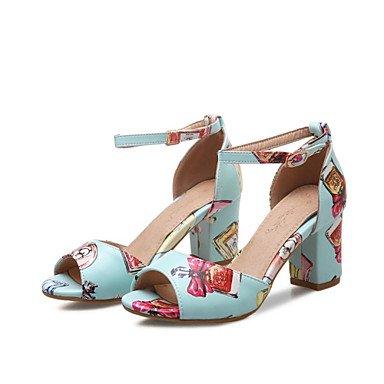 LFNLYX Las mujeres sandalias de verano otros materiales personalizados polipiel Office & Carrera visten casual Chunky talón hebilla PrintBlack Animal Azul Rosa Pink