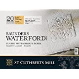 "High White Saunders Waterford Block 300gsm 310 x 410mm (12"" x 16"") 20 Sheets Rough"