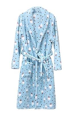 Women's Plush Soft Warm Fleece Bathrobe Robe