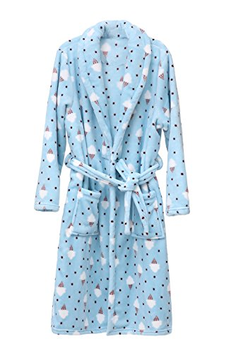 GOLDSTITCH Women's Plush Soft Warm Fleece Bathrobe Robe Blue w/ice Cream M,Medium(US2-8),Blue With Ice Cream