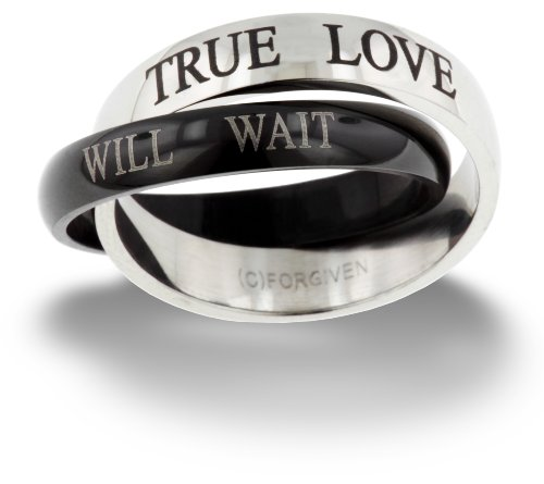 (RSTL Forgiven Jewelry-True love will wait Purity Band Stainless Steel Ring size 7-Christian Jewelry)