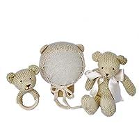 Set beige de Oso - PEONI MILOU/regalo bebé/babyshower/muñeco tejido/sonaja/gorrito/recién nacido