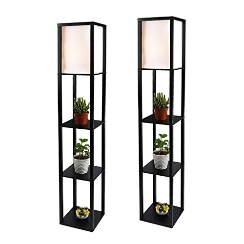 Shelf Floor Lamp with Linen Shade, UL Listed, Wooden Frame, 63 Inch Height, Switch on/Off, Etagere Organizer Shelf, Black, Set of 2