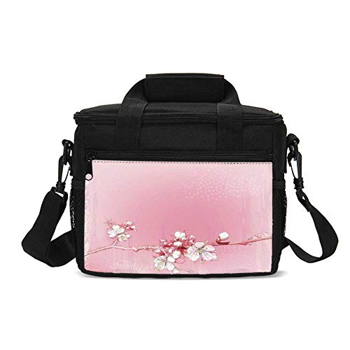 Peach Durable Lunch Bag,Japanese Inspired Cherry Blossom Branch Sakura Flowers in Soft Colored Spring Time Decorative for Picnic Travel,9.4