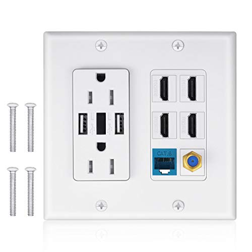 (2 Power recessed Outlet 15A with Dual 2.4A USB Charger Port Wall Plate with LED Lighting, IQIAN 4 HDMI HDTV + 1 CAT6 RJ45 Ethernet +recessed Coaxial Cable TV F Type Keystone Face Plate White )