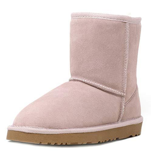 DREAM PAIRS Little Kid Shorty-K Pink Sheepskin Fur Winter Snow Boots Size 3 Little Kid