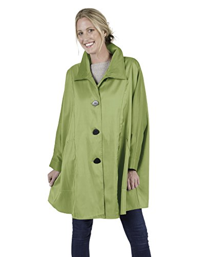 One Button Reversible Coat - Janska Penny Coat, One Size, All Weather Wear Rain Resistant Button Down Coat (Leaf)