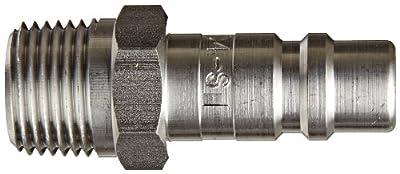 "Dixon Valve D4M4-S Stainless Steel 303 Industrial Interchange Pneumatic Fitting, Nipple, 1/2"" Coupling x 1/2"" - 14 NPTF Male Thread"