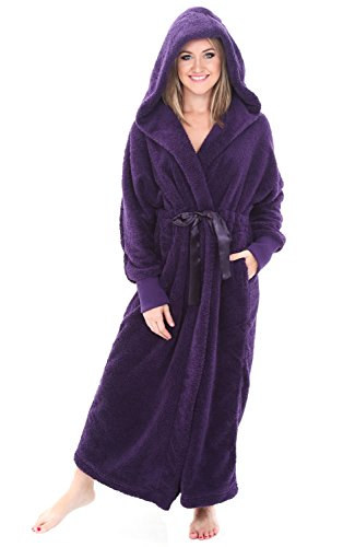 Alexander Del Rossa Womens Fleece Robe, Long Plush Hooded Bathrobe, 1X 2X Purple with Elastic Cuffs (A0269PUR2X)